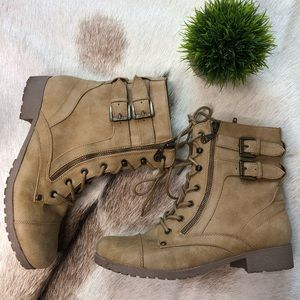 G by Guess Shoes - G by Guess combat boot camel vegan faux leather 10